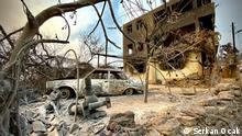 Durch das Feuer zerstörte Dorf Kalemler, in Antalya