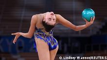 Gymnastics - Rhythmic - Individual All-Around - Qualification - Rotation 1 & 2 - Ariake Gymnastics Centre, Tokyo, Japan - August 6, 2021. Milena Baldassarri of Italy in action with ball. REUTERS/Lindsey Wasson SEARCH OLYMPICS DAY 15 FOR TOKYO 2020 OLYMPICS EDITOR'S CHOICE, SEARCH REUTERS OLYMPICS TOPIX FOR ALL EDITOR'S CHOICE PICTURES.TPX IMAGES OF THE DAY.