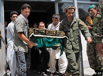 Relatives carry the body of one of two Afghans killed in northern Afghanistan from the morgue in Kabul