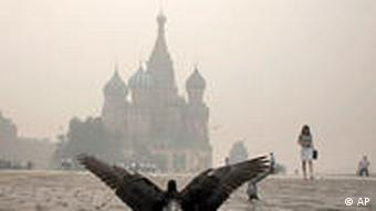 A bird flies away with the air visibly filled with smoke in front of a Moscow landmark