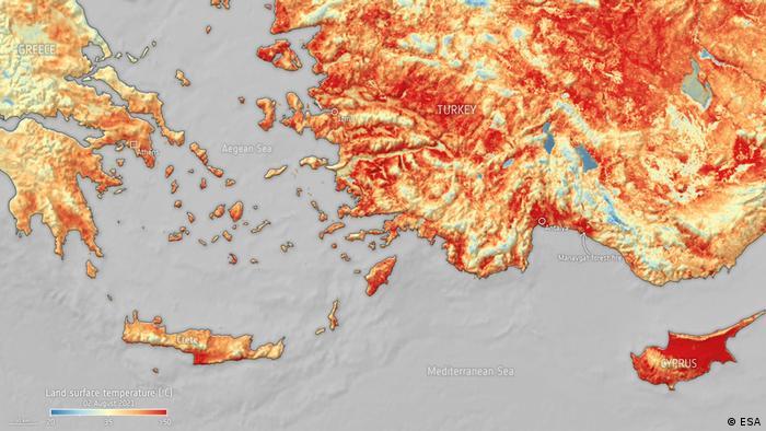 Auswirkungen der Waldbrände in der Mittelmeer Region