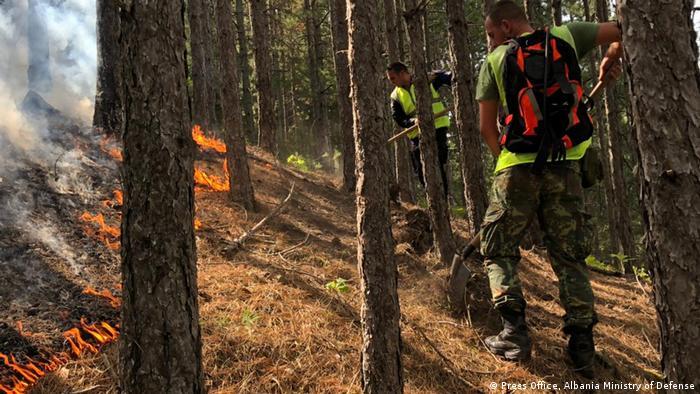 اداره هواشناسی اتحادیه اروپا هشدار داده است که به دلیل خشکسالی، گرمای زیاد و دمای بالای هوای منطقه، خطر بروز آتش سوزی در جنگلها افزایش یافته است. این اداره تاکید کرده است که دمای بالا به تنهایی عامل این سوانح نیست و آتشسوزی مستلزم اشتعال اولیه است. (عکس: آتش در جنگلهای آلبانی)