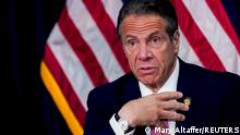 FILE PHOTO: New York Governor Andrew Cuomo speaks during a news conference, in New York, U.S., May 10, 2021. Mary Altaffer/Pool via REUTERS/File Photo