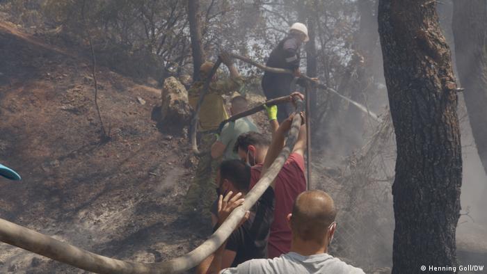 Se quema el bosque en los suburbios de Atenas.