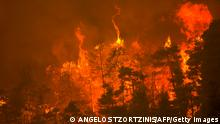 This picture taken near the village of Gouves, on Euboea island, second largest Greek island, on August 8, 2021 shows a raging fire. - Hundreds of firefighters battled a blaze on the outskirts of Athens as several fires raged in Greece. (Photo by ANGELOS TZORTZINIS / AFP) (Photo by ANGELOS TZORTZINIS/AFP via Getty Images)