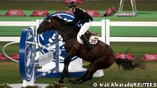 Tokyo 2020 Olympics - Modern Pentathlon - Women's Riding - Tokyo Stadium - Tokyo, Japan - August 6, 2021. Annika Schleu of Germany in action REUTERS/Ivan Alvarado/File photo SEARCH BEST OF THE TOKYO OLYMPICS FOR ALL PICTURES. TPX IMAGES OF THE DAY.