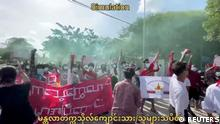 Anti-coup protesters march on the anniversary of a 1988 uprising, in Mandalay, Myanmar August 8, 2021 in this still image obtained by Reuters from a video. ATTENTION EDITORS - THIS IMAGE HAS BEEN SUPPLIED BY A THIRD PARTY. NO RESALES. NO ARCHIVES.