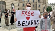 Anbei fünf Bilder von der heutigen Kundgebung der weißrussischen Opposition in Berlin. 08/08/2021 Copyright und via Vladimir Esipov/DW 2151 - Christian Mihr, Reporter ohne Grenzen 2154 - Anna Schkor, Initiative Razam Stichworte: Belarus, Weißrussland