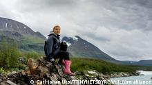 S?pmi 2021-07-13 Greta Thunberg vid fj?llet ?hkk? i v?rldsarvet Laponia. Sm?ltande glaci?rer i S?pmi. Foto: Carl-Johan Utsi / TT / kod 11300