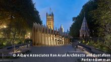 Eine künstlerische Darstellung des Holocaust-Denkmals bei Nacht in London, dessen Errichtung im Juli 2021 genehmigt wurde und das bis 2024 fertiggestellt werden soll. Das Design stammt von den Architekturbüros Adjaye Associates, Ron Arad Architects and Gustafson Porter + Bowman.