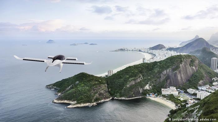 Рекламная картинка: электрический бизнес-джет Lilium на подлете к Рио-де-Жанейро