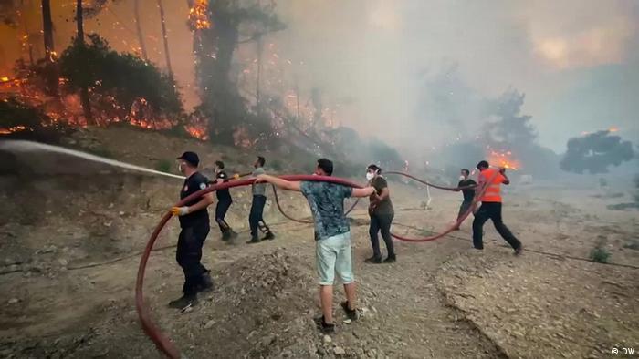 Homens ajudam bo,beiros com mangueiras a acabarem fogo em árvores