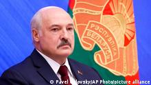 Belarusian President Alexander Lukashenko attends an annual press conference in Minsk, Belarus, Monday, Aug. 9, 2021. Belarus' authoritarian leader on Monday charged that the opposition was plotting a coup in the runup to last year's presidential election that triggered a monthslong wave of mass protests. President Alexander Lukashenko held his annual press conference on Monday, the one-year anniversary of the vote that handed him a sixth term in office but was denounced by the opposition and the West as rigged. (Pavel Orlovsky/BelTA photo via AP)
