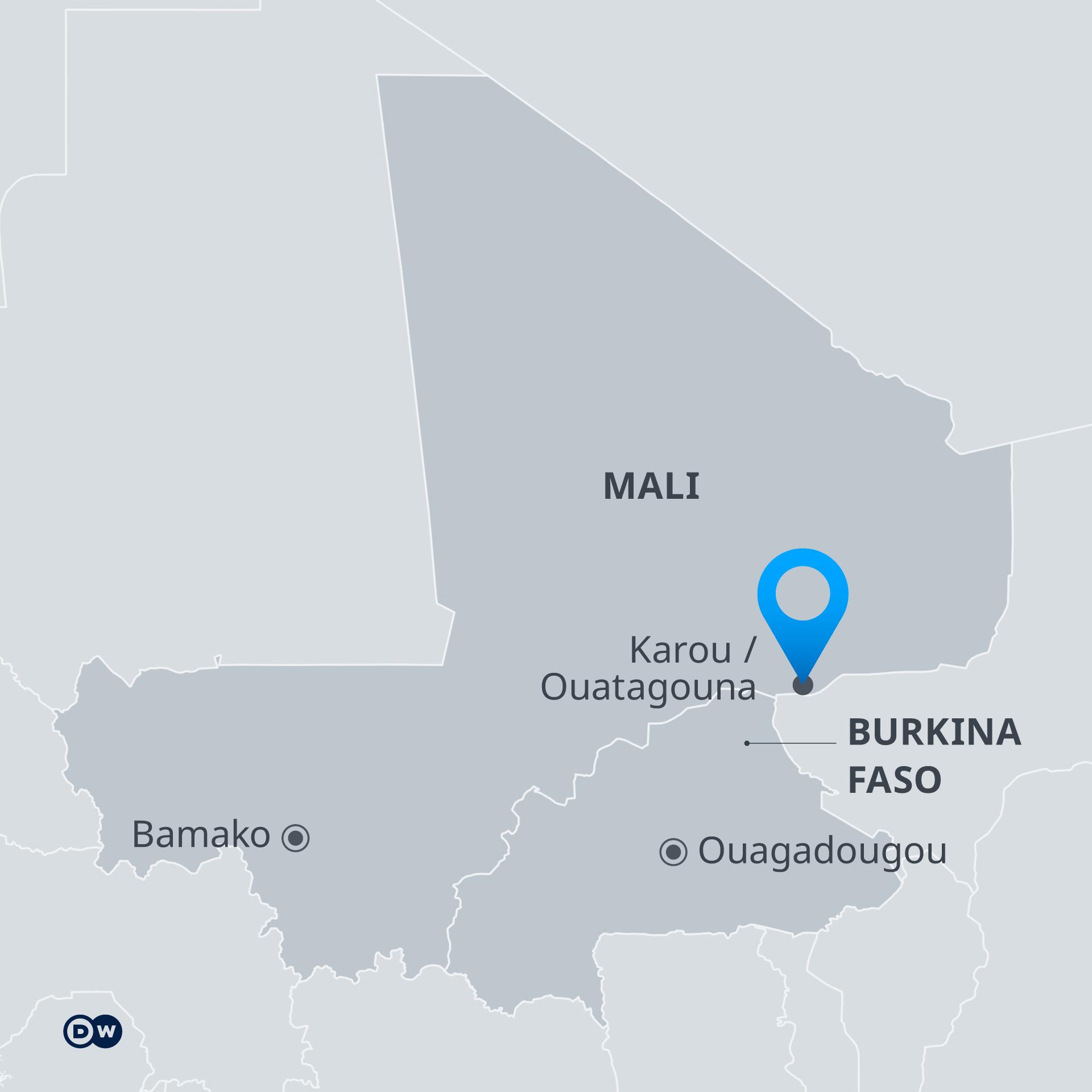 Infografik Karte Mali und Burkina Faso mit Karou und Ouatagouna