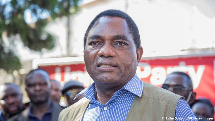 Opposition candidate Hakainde Hichilema addresses supporters after being questioned by police last year.