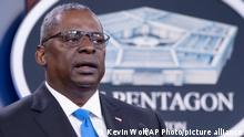 Defense Secretary Lloyd Austin speaks at a press briefing at the Pentagon, Wednesday, July 21, 2021 in Washington. (AP Photo/Kevin Wolf)