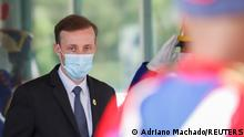 U.S. National Security Adviser Jake Sullivan looks on after meeting with Brazil's Defence Minister Walter Souza Braga Netto (not pictured) at the Ministry of Defence headquarters in Brasilia, Brazil August 5, 2021. Picture taken through glass. REUTERS/Adriano Machado