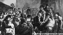 8th April 1871: The district vaccinator vaccinating children against smallpox in the east end of London. Original Publication: The Graphic - pub. 1871 (Photo by Hulton Archive/Getty Images)