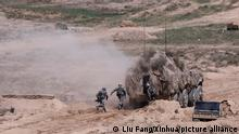(210807) -- YINCHUAN, Aug. 7, 2021 (Xinhua) -- Chinese military personnel conduct adaptive training for a joint military drill on Aug. 5, 2021. A joint military exercise by the Chinese and Russian armies will be held from Aug. 9 to 13 at a training base of the People's Liberation Army (PLA) in northwest China's Ningxia Hui Autonomous Region. (Xinhua/Liu Fang)