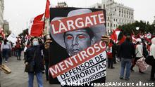 LIMA, PERU - AUGUST 08: Peruvians take to the streets in front of congress building asking for president Pedro Castillo vacancy in Lima, Peru on August 08, 2021. Klebher Vasquez / Anadolu Agency