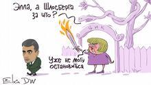 Karikatur - russischer Politiker Lew Schlosberg wird von der Leiterin zentraler Wahlkommission in Russland Ella Panfilowa weggejagt. Auf die Frage: Und weshalb Schlosberg? antwortet sie: Kann nicht mehr halten.