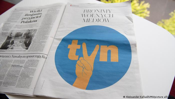 Anewspaper ad in Polish daily Gazeta Wyborcza portraying the logo of the independent broadcaster TVN that reads ''We defend free media''