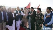 Afghanistan president Ashraf Ghani arrives in Mazar-i-Sharif to check the security situation of the northern provinces, Afghanistan August 11, 2021. Afghan presidential palace/Handout via REUTERS NO RESALES. NO ARCHIVES. THIS IMAGE HAS BEEN SUPPLIED BY A THIRD PARTY.