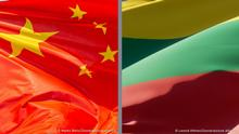 Links:National Flag of the Peoples Republic of China Wind. 28.09.2020 Bildnachweis picture alliance / Zoonar | Marko Beric Rechts: Beautiful national state flag of Lithuania fluttering at sky background. Low angle close-up Lithuania flag 3D artwork. 16.11.2020 Bildnachweis picture alliance / Zoonar | Leonid Altman