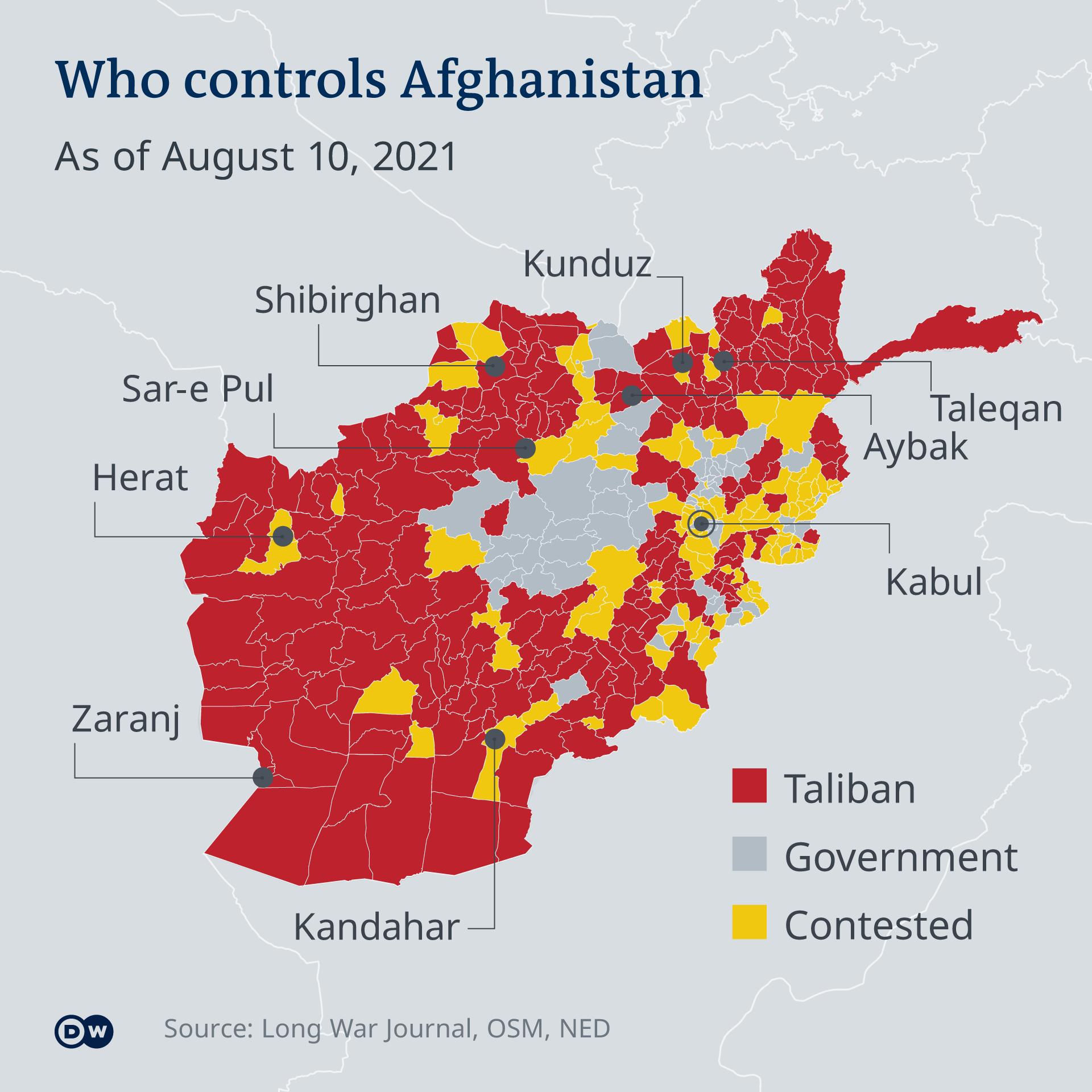 Karta Afganistana sa označenim područjima pod kontrolom talibana, vladinih snaga i gdje se vode borbe.