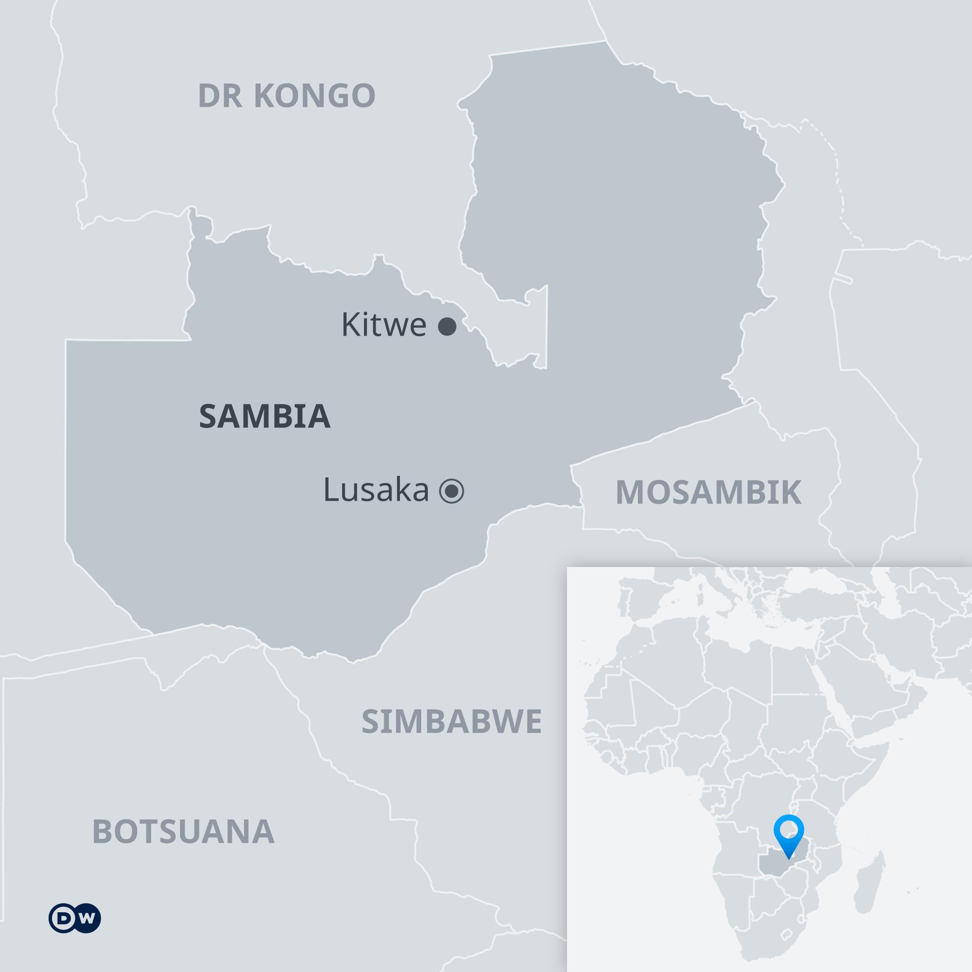 Infografik Karte Sambia mit Nachbarländern DE
