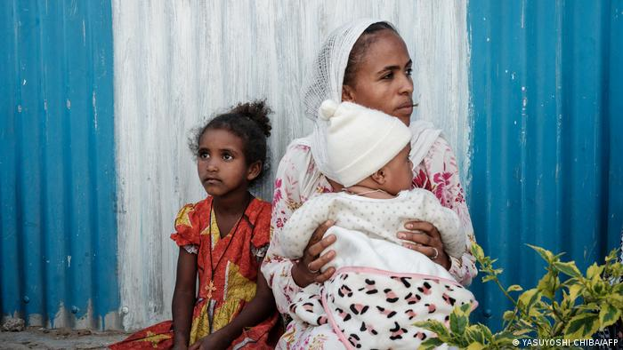 An internal displaced mother and daughter who fled violence in Ethiopia's Tigray region in Mekele, the capital of Tigray region, Ethiopia, on June 22, 2021