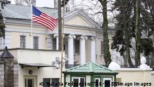 MINSK, BELARUS - JANUARY 24, 2020: An entrance to the embassy of the United States of America at Starovilenskaya Street in Minsk. Natalia Fedosenko/TASS PUBLICATIONxINxGERxAUTxONLY TS0CB736