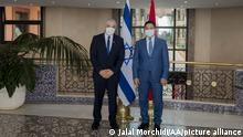 11.08.2021 RABAT, MOROCCO - AUGUST 11: Foreign Affairs Minister of Israel Yair Lapid (L) meets Moroccan Foreign Minister Nasir Burita (R) in Rabat, Morocco on August 11, 2021. Jalal Morchidi / Anadolu Agency
