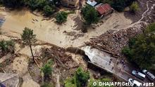 An aerial view shows a destroyed in a flooded area following heavy rainfalls near Kastamonu, on August 11, 2021. - From flash floods to forest fires, drought to sea snot, Turkey is bearing the brunt of increasingly frequent disasters blamed on climate change. (Photo by - / Demiroren News Agency (DHA) / AFP) (Photo by -/Demiroren News Agency (DHA)/AFP via Getty Images)