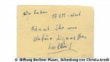 +++Nur zur abgesprochenen Berichterstattung++++ Stiftung Berliner Mauer l Kassiber an DDR-Grenzposten