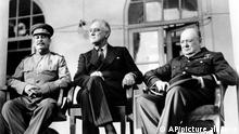 November 1943***Soviet Union Premier Josef Stalin, U.S. President Franklin D. Roosevelt, center, and British Prime Minister Winston Churchill sit at the Teheran Conference in the capital of Persia, Iran, on Nov. 28, 1943. The three leaders, meeting for the first time, are to discuss Allied plans for the war against Germany and for postwar cooperation in the United Nations. (AP Photo)