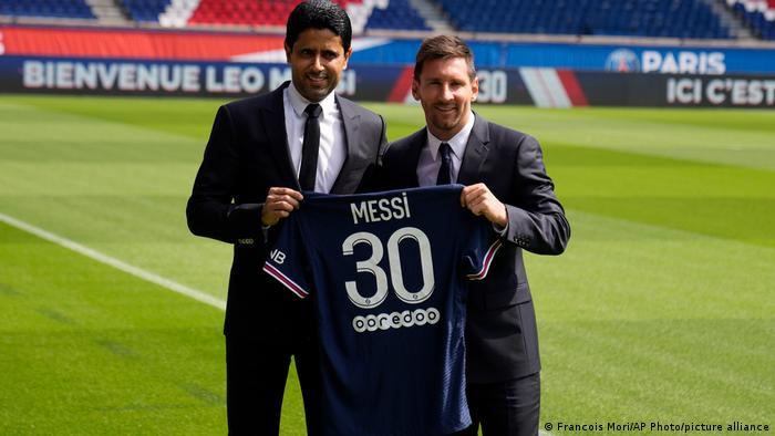 PSG president and QSI chairman Nasser Al-Khelaifi (left) is the man behind Lionel Messi's transfer