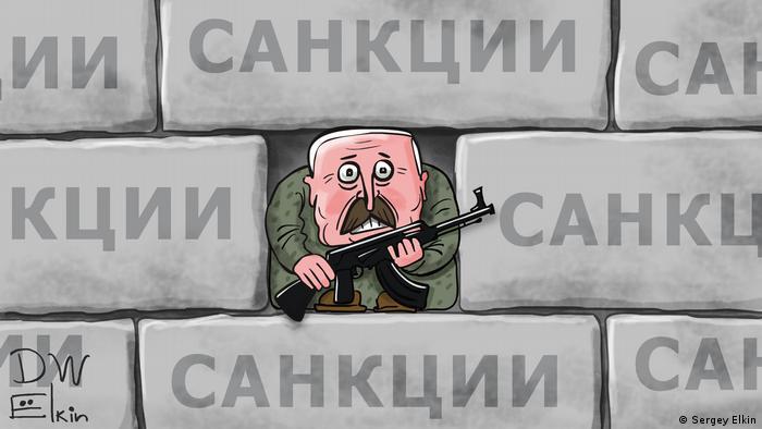 Карикатура Сергея Елкина - белорусский правитель Александр Лукашенко с автоматов почти замурован в стене, сложенной из кирпичей с надписью санкции.