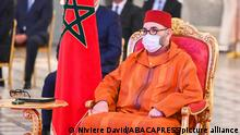 King Mohammed VI of Morocco chairs launching Ceremony of Project to Generalize Social Protection and Signing of First Related Agreements, on April, 2021 in Fez, Morocco. Photo by Aziz Boukallouche via DNphotography / ABACAPRESS.COM