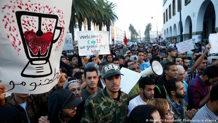 Graphic posters and signs during the protest against the death of Mouhcine Fikri in the northern Moroccan city of Hoceima.