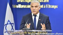 RABAT, MOROCCO - AUGUST 11: Israeli Foreign Minister Yair Lapid makes a speech as he holds a joint press conference with Moroccan Foreign Minister Nasser Bourita (not seen) in Rabat, Morocco on August 11, 2021. Jalal Morchidi / Anadolu Agency