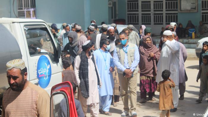 UNICEF's Chief Field Operations Mustapha Ben Messaoud visits the Haji internally displaced camp in Kandahar in July