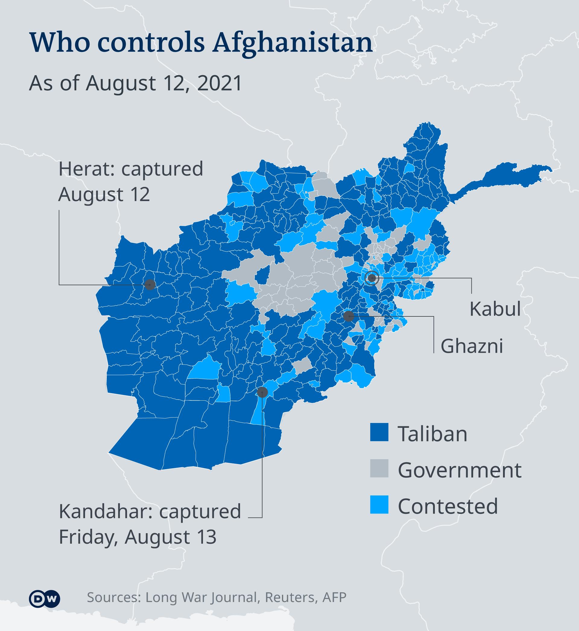 Αφγανιστάν, γράφημα, Ταλιμπάν, κυβερνητικός στρατός