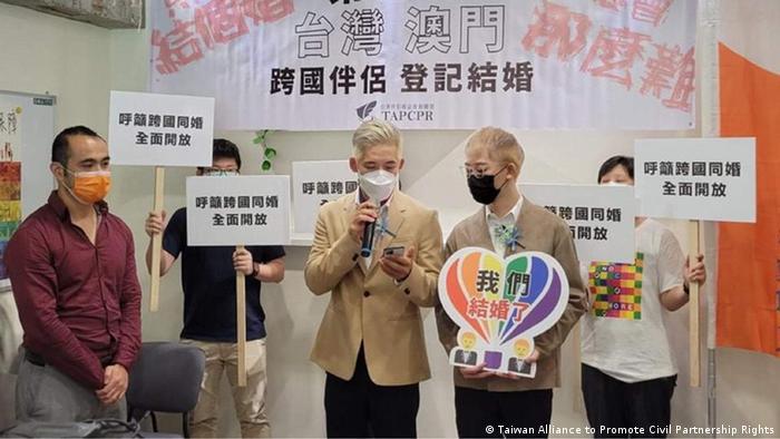 Taiwan Gleichgeschlechtliches Paar aus Taiwan und Macau heiratet
