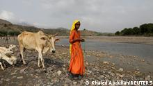 A girl looks on as she leads her cow across a spring lake in Khamis Banisaad district of al-Mahweet province, Yemen, June 23, 2021. REUTERS/Khaled Abdullah SEARCH ABDULLAH DEFORESTATION FOR THIS STORY. SEARCH WIDER IMAGE FOR ALL STORIES TPX IMAGES OF THE DAY