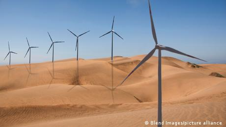 Row of wind turbines in desert