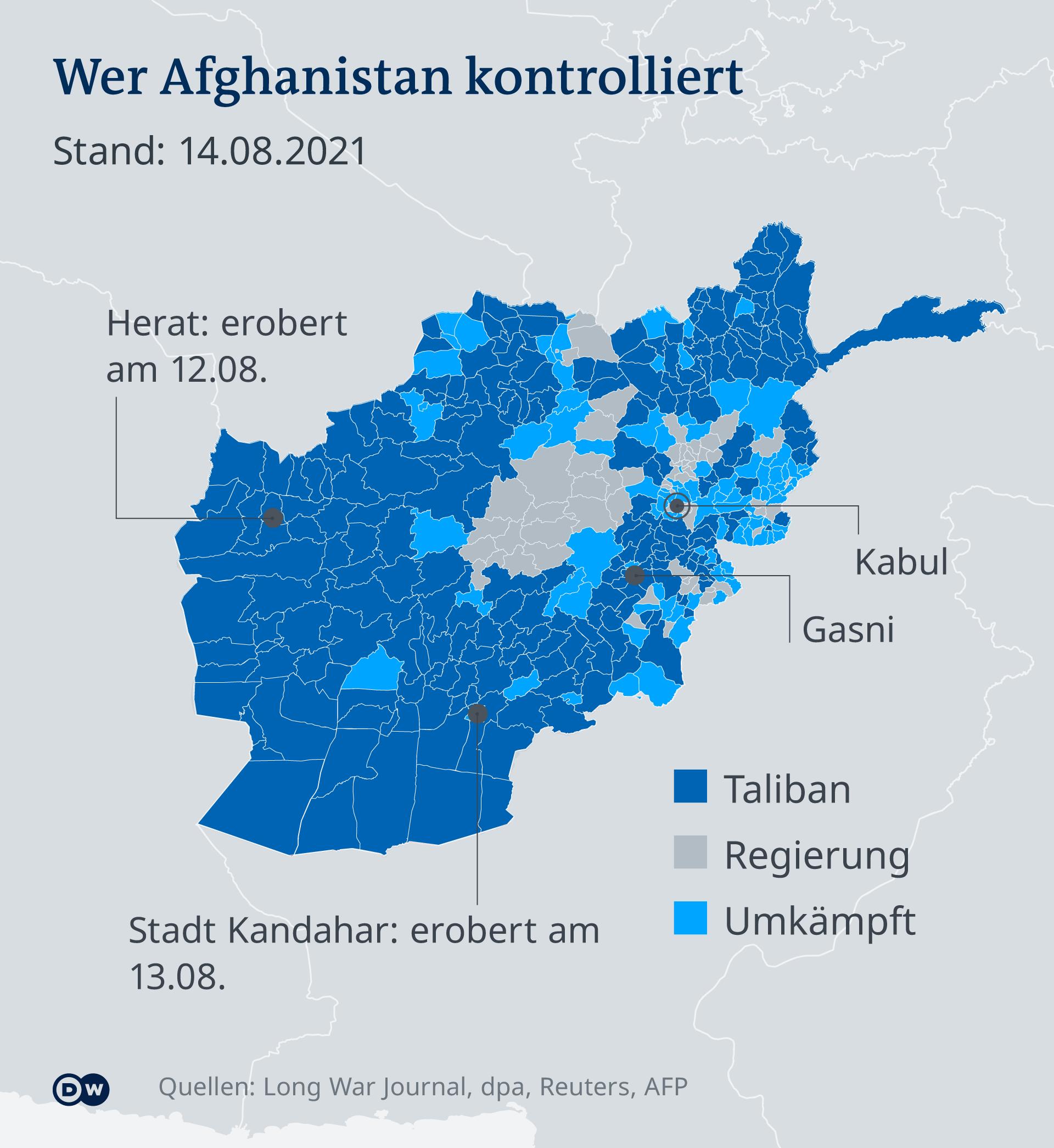 Infografik Wer kontrolliert Afghanistan DE