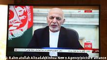 (210814) -- KABUL, Aug. 14, 2021 (Xinhua) -- Afghan president Mohammad Ashraf Ghani speaks in a televised address in Kabul, capital of Afghanistan, Aug. 14, 2021. President Ghani on Saturday vowed to prevent instability in his war-battered country amid the intensified fighting and Taliban's advance towards major cities. (Xinhua/Rahmatullah Alizadah)