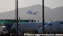 """A plane takes off from Hamid Karzai International Airport in Kabul, Afghanistan, Sunday, July 4, 2021. As America's """"forever war"""" rapidly winds down, the U.S. Embassy and other diplomatic missions in Kabul are looking at a worsening security situation and how to respond. There is still no deal on securing operations at Kabul's international airport, a prerequisite for a continued presence of foreign diplomats and aid workers in Afghanistan. (AP Photo/Rahmat Gul)"""