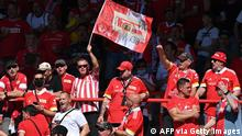 Union Berlin fans cheer prior to the German first division Bundesliga football match between 1 FC Union Berlin and Bayer Leverkusen in Berlin on August 14, 2021. - DFL REGULATIONS PROHIBIT ANY USE OF PHOTOGRAPHS AS IMAGE SEQUENCES AND/OR QUASI-VIDEO (Photo by John MACDOUGALL / AFP) / DFL REGULATIONS PROHIBIT ANY USE OF PHOTOGRAPHS AS IMAGE SEQUENCES AND/OR QUASI-VIDEO (Photo by JOHN MACDOUGALL/AFP via Getty Images)